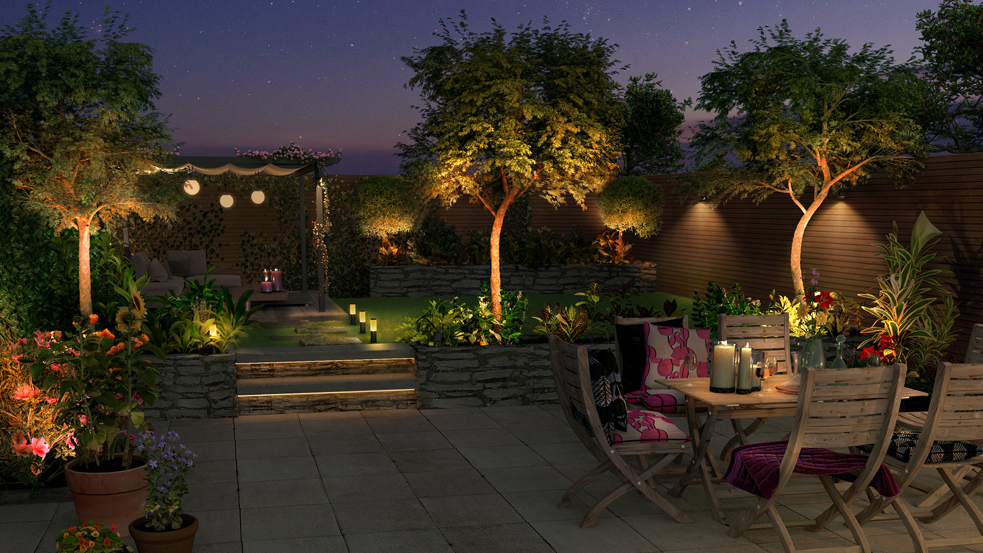 Outdoor smart lighting garden dinner setting