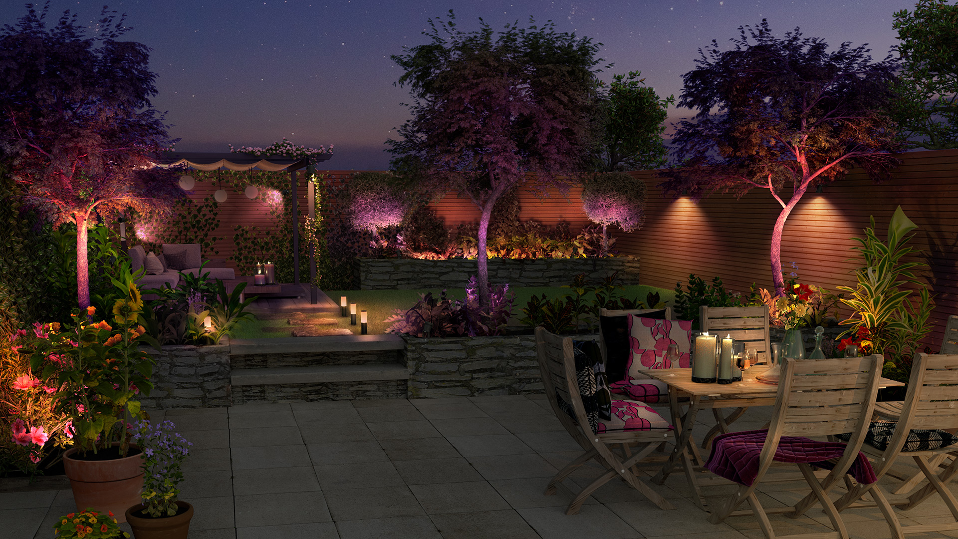 Outdoor smart lighting garden party setting