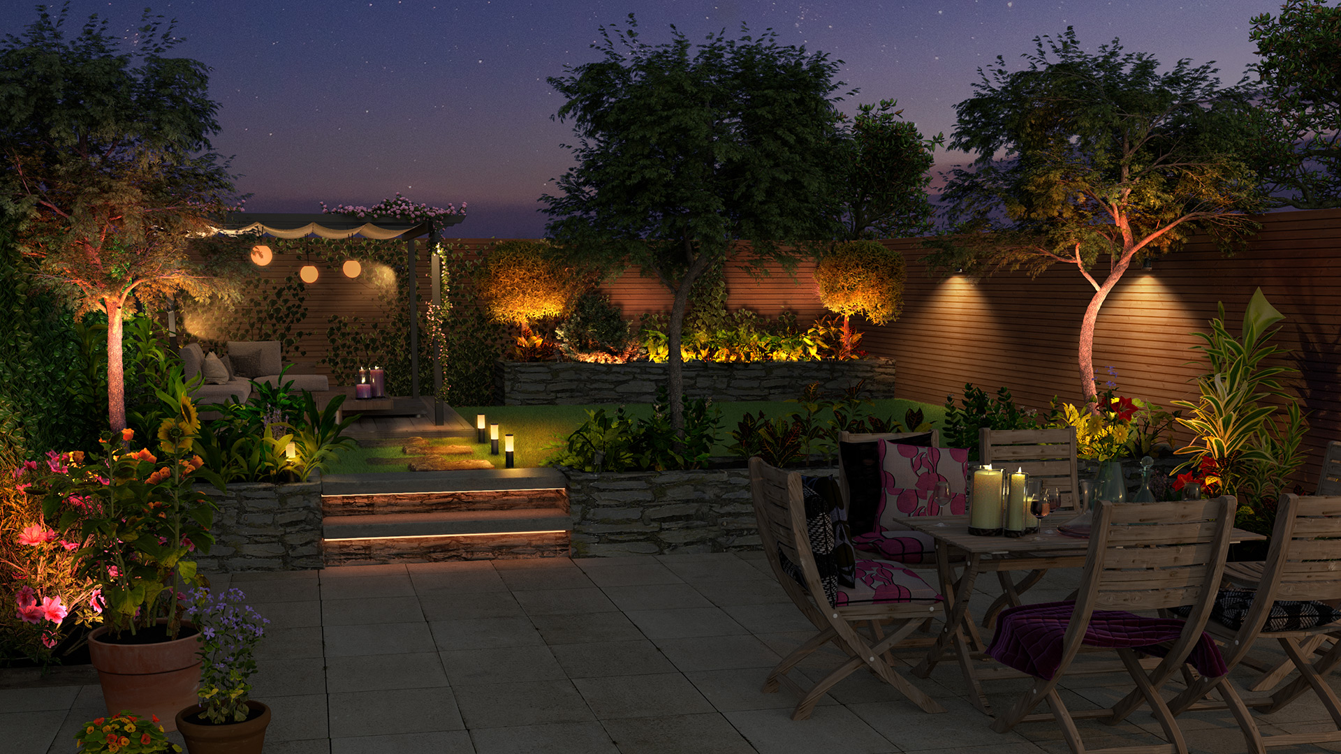Outdoor smart lighting garden lounge setting